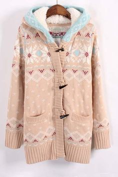 Sp Pretty! Love Pink + Blue! Pale Pink and Blue Snowflakes Knit Cardigan Sweater  #Love_Pink #Blue #Snowflakes #Sweater #Fashion