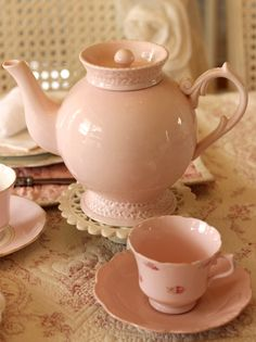 beautiful pink tea pot w/ cups & saucers......