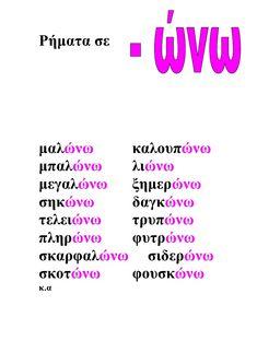 ρηματα ώνω Greek Language, Second Language, Learn Greek, Greek Alphabet, Grammar Worksheets, School Lessons, Home Schooling, Speech Therapy, Book Activities