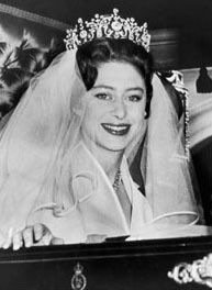 I totally need a tiara! On her wedding day, Princess Margaret, Queen Elizabeth's younger sister, wore the Poltimore tiara, made in 1870 for Lady Poltimore Windsor, Royal Crowns, Royal Tiaras, Royal Brides, Royal Weddings, Princess Margaret Wedding, Poltimore Tiara, Margaret Rose, Wedding Tiaras