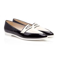 bb1ef34bef0 Beyond Skin Imelda black and cream flat pointed vegan loafer court shoe  made from synthetic faux patent leather Vegan
