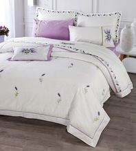Роскошный Фиолетовый лаванда Вышивка 4-шт Наборы Постельных Принадлежностей Королева Размер 100% Хлопок…