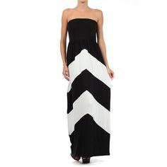 J-Mode USA Los Angeles Black & White Chevron Strapless Maxi Dress ($25) ❤ liked on Polyvore featuring dresses, long maxi dresses, long dresses, black and white maxi dress, rayon dress and chevron print maxi dress
