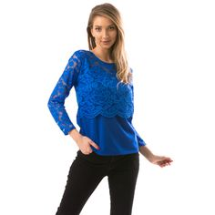 Bluza dama cu dantela Long Sleeve, Sleeves, Tops, Women, Fashion, Moda, Women's, Fashion Styles, Woman