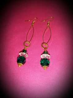 Earrings: Emerald Crystals and brass. Made by me☆♡☆♡☆