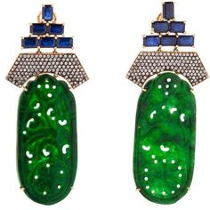 Carved Jade Earrings Silvia Furmanovich CoutureLab ($23,080) ❤ liked on Polyvore