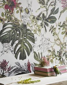British Colonial Wallcoverings wallpaper Bring-a-world-of-colour-into-your-home-with-the-Tropical-Bloom-wallpaper.-This-mural-like-wallcoveri-wallpaper Tropical Wallpaper, Botanical Wallpaper, Office Deco, Estilo Tropical, Tropical Vibes, Wall Murals, Wall Art, Deco Floral, Floral Wall
