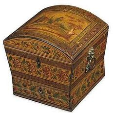 A REGENCY PENWORK SEWING BOX.