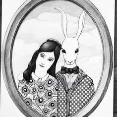 Illustration by Aliceandtherabbit . Follow me on instagram! Follow Me On Instagram, Rabbit, Alice, Sketches, Illustrations, Portrait, Bunny, Drawings, Rabbits