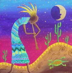 Whimiscal Kokopelli, Southwest Hills, OOAK Painting Stretched Canvas