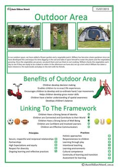 The Outdoor Area template is for a child's portfolio and consists of a typical interest area that you may have set-up in your service setting. School Age Activities, Childcare Activities, Preschool Learning Activities, Play Based Learning, Learning Through Play, Early Learning, Childcare Environments, Teaching Ideas, Eylf Learning Outcomes