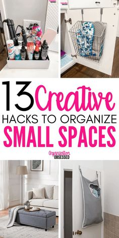 13 Brilliant Ideas For Organizing Small Spaces - Organization Obsessed These Genius tips to organize small spaces will have your small home organized inno time! Don't miss these storage solutions for small homes and small spaces! Small Space Storage, Small Space Organization, Home Organization Hacks, Storage Hacks, Organizing Your Home, Diy Storage, Small House Storage Ideas, Storage Design, Tips And Tricks