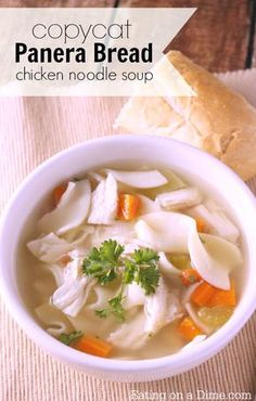 Lower Excess Fat Rooster Recipes That Basically Prime Make This Copycat Panera Bread Chicken Noodle Soup Recipe. It Is Very Frugal To Make And Taste Just Like The Restaurant. We Made A Batch For My Family Of 6 For Just 5 Panera Bread Chicken Noodle Soup Recipe, Chicken Recipes, Bread Soup, Hamburger Recipes, Recipe Chicken, Cooking Recipes, Healthy Recipes, Bread Recipes, Healthy Soups