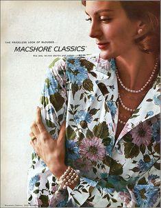 Carmen Dell' Orefice, Macshore Classics ad, Harper's Bazaar, December 1957 Carmen Dell'orefice, Harpers Bazaar, 70s Fashion, 1950s, December, Men Casual, Ads, Woman, Classic