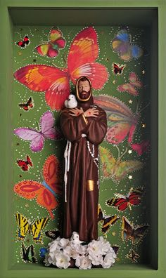 Make san francisco with Barbie Religious Images, Religious Art, Catholic Art, Little Flowers, St Francis, Mexican Folk Art, Sacred Art, Collage, Box Art