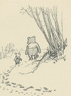 Antique Print (1930s) of Pooh Bear and Piglet walking in the Snow