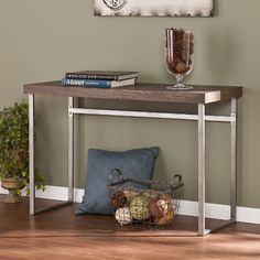 This tall Aiden Lane Mixed Material Console Table is the perfect accent to your space. Craft a midcentury modern look with this multifunctional console behind the couch in the living room or in the entryway.