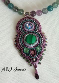 Embroidered collar malachite by AllByJo on Etsy, €95.00
