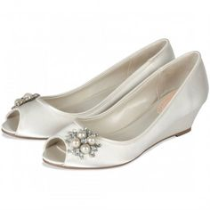 Frosting by Pink for Paradox London Ivory Dyeable Wedge Wedding or Occasion Shoes - SALE