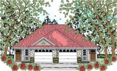 Multi-Family Plan 75049 - Country, Traditional Style Multi-Family Plan with 1386 Sq Ft, 2 Bed, 2 Bath, 2 Car Garage Traditional House Plans, Traditional Design, Duplex Floor Plans, European Plan, Duplex Design, Country House Plans, Building A House, Build House, Country Style