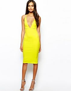 Oh My Love Plunge Neck Body-Conscious Dress.- wish I had the guts to wear this. Love the color