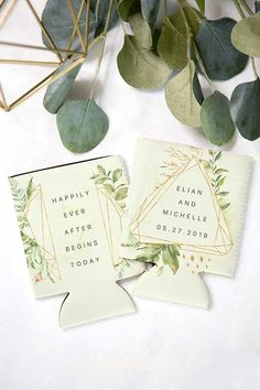 Wedding Favor Drink Insulators, Geometric Boho Style Wedding Favors, Drink Holder Can Coolers (Item