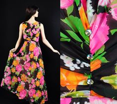 Vintage 70s Floral #Dress #Summer Garden #Party Maxi XS,  View more on the LINK: http://www.zeppy.io/product/gb/3/92386607/