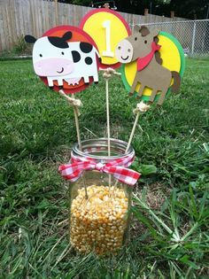 Farm/Barnyard Centerpieces, I will rather do them with sunflowers! Party Animals, Farm Animal Party, Farm Animal Birthday, Barnyard Party, Cowboy Birthday, Farm Party, 1st Boy Birthday, 3rd Birthday Parties, Birthday Ideas