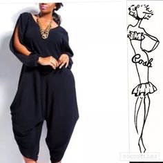 1 Left! Fall Jumper w/Harem Pants Black long sleeve jumper with harem pants. Jumper has split sleeves & harem pants have button on side to adjust length & style. Hidden zipper in the back, chiffon material. Size Small Cycle Boutique Pants Jumpsuits & Rompers