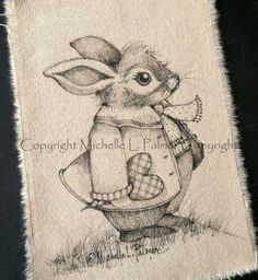 Boy Valentine Bunny Rabbit Original Pen Ink Fabric Illustration Quilt Lable Label by Michelle Palmer Feb 2014 ♥