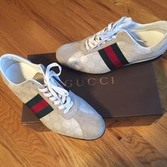 Men's White Cream Gucci Sneakers  These sneakers are in Great condition and a great find.. Worn 1x.. Includes box and dust bag 100% Authentic Gucci Shoes Sneakers