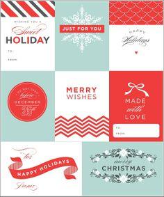 Modern free Christmas holiday gift tag printables