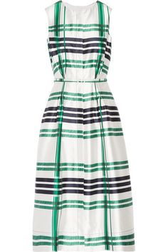 Oscar de la Renta - Plaid Silk And Cotton-blend Midi Dress - Emerald