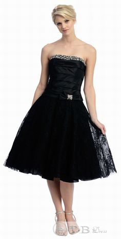 Black Strapless 1950's Style Retro Homecoming Dresses   $75.09