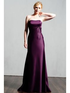 Beautiful Satin Scoop Neckline A-Line Bridesmaid Dress With A Small Band And Bow SB1055