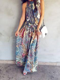 JustFashionNow Blue Women Print Dress Swing Daytime Dress Short Sleeve Slit Floral Dress