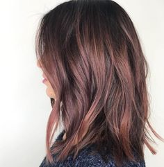 Ombre Hair Color, Brown Hair Colors, Ombre Rose, Auburn Ombre Hair, Rose Hair Color, Rose Gold Hair Brunette, Brunette Lob, Rose Gold Brown Hair, Medium Brunette Hair
