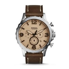 Nate Chronograph Dark Brown Leather Watch