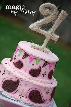 perfect strawberry cowgirl birthday cake pink bandana and pennant banners