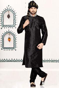 Black Brocade Art Silk Kurta Pajama (NMK-3012)