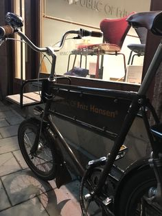 Velorbis Short John Fritz Hansen Edition outside Republic of Fritz Hansen in Stockholm. Design your own bike at velorbis.com