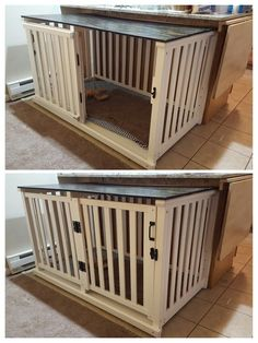 Old crib converted to spacious dog crate. DIY project success! My beagles love it ♡