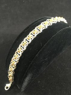 Silver and Gold Two-toned Shiny Helm Chain Bracelet