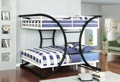 Cumberland Black white full metal bunk bed for kids. #metalbunkbeds