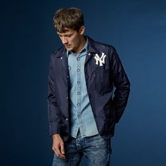 Shop men's MLB® apparel at Levi's® including western shirts, sweatshirts and trucker jackets. Browse our collection of baseball clothes at Levi's®. Team Coaching, Levis Shirt, Sports Jacket, Look Cool, Going Out, Bomber Jacket, Mlb, Mens Fashion, Denim