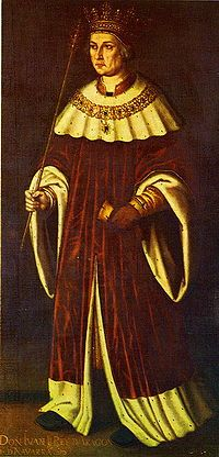 John II of Aragon - the Faithless. Brother to Alfonso. The marriage of his son would united the kingdoms of Aragon and Castile to become Spain. He was married to Blanche I of Navarre and was granted the kingdom of Navarre upon her death. His son, Charles, was the heir of Navarre and John came to look at his son with jealousy and eventually, absolute hatred. A civil war ensued which resulted in Charles's death, perhaps poisoned by his step mother.