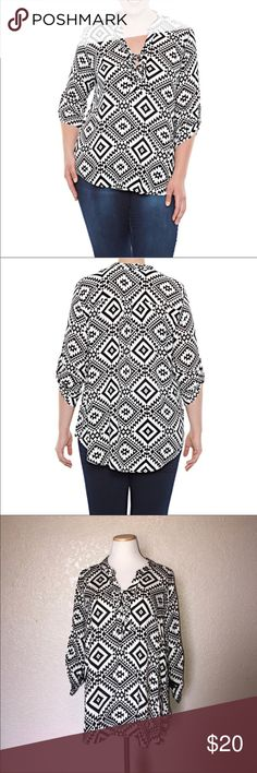 Last chance NWT Roll Tab Aztec Print Shirt Last chance NWT Roll Tab Aztec Print Shirt Tops Blouses