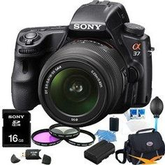 Review Discount Sony Alpha SLT-A37K 16.1 MP Exmor APS HD CMOS Sensor DSLR with Translucent Mirror Technology and 18-55mm Lens (Black) ULTIMATE BUNDLE with 16GB High Speed Card, Deluxe Filter Kit, Spare Battery, Padded Case+ More