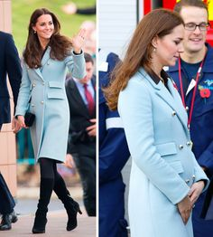 Royal baby fans were over the moon when it was announced that Prince William and the Duchess of Cambridge were expecting their second child. And on the weekend, the Duchess stepped out wearing a baby blue Matthew Williamson coat which showed just a hint of a baby bump, sending the excitement levels soaring. Kate teamed her winter coat with some heeled black boots and her trademark blowdry. Lovely.  -Cosmopolitan.co.uk