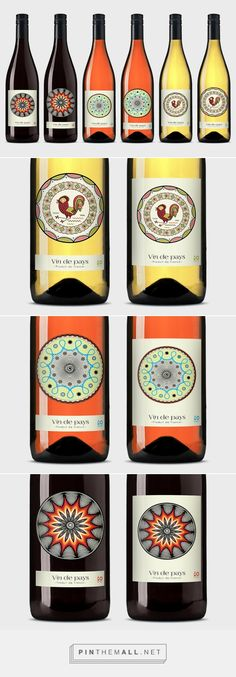 Vin de Pays wine labels and packaging on Behance curated by Packaging Diva PD. Vin de Pays Rouge is a colorful, bucolic ceramics inspired wine label and its design suggests at the rich, earthy flavor of red wine.
